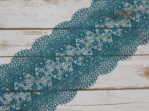 "7"" Dusty Green Crochet Look Double Scallop Galloon Stretch Lace By The Yard"