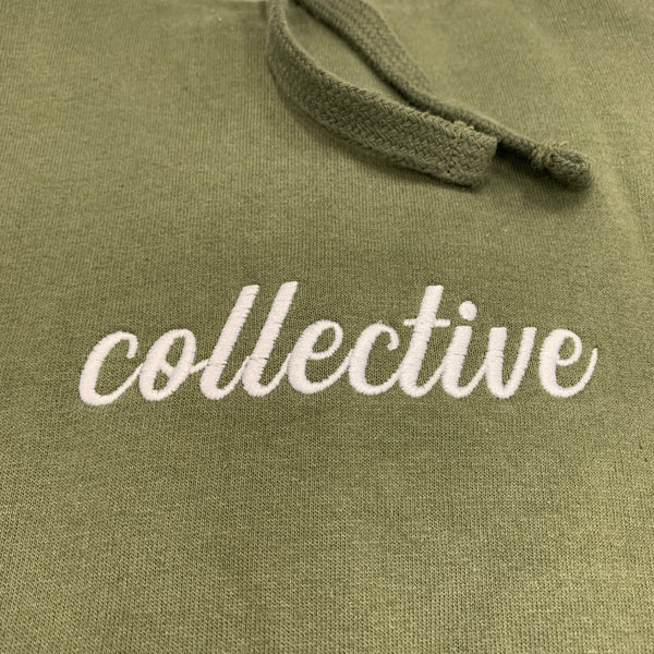 Collective Expectations Embroidered Olive Pullover Hoodie Sweater