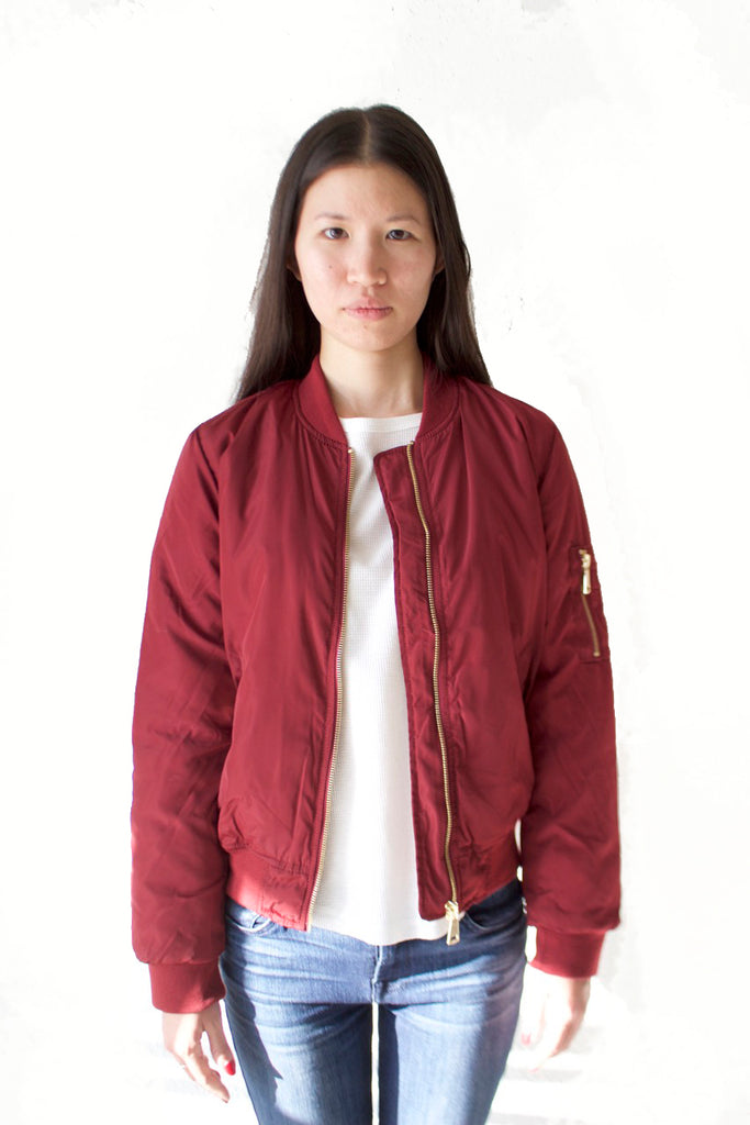 Women's Burgundy Bomber Jacket