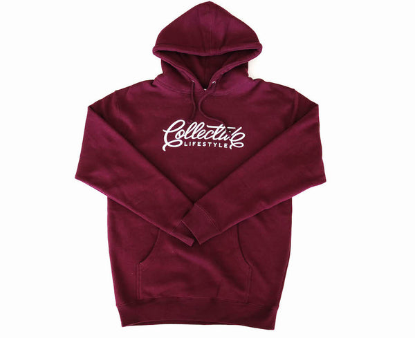 Collective Lifestyle Burgundy Script Hoodie