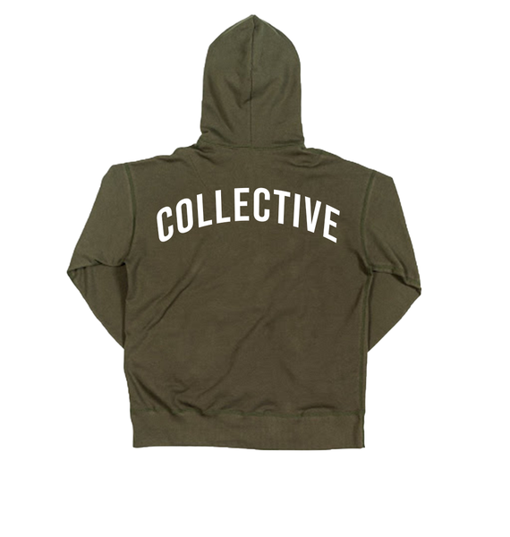 Collective Pocket Script Olive Hoodie Sweater