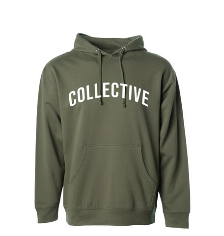 Collective Arch Script Olive Hoodie Sweater