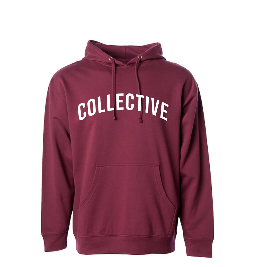 Collective Arch Script Burgundy Hoodie Sweater