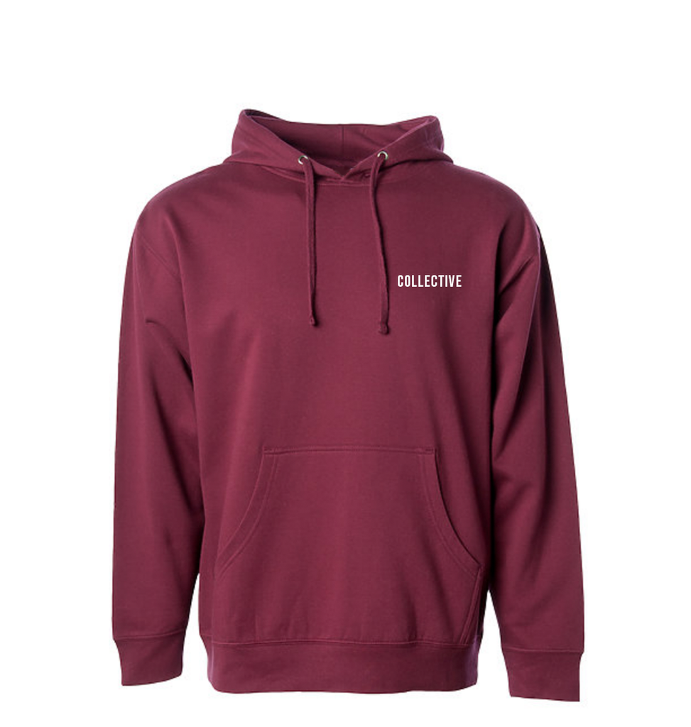 Collective Pocket Script Burgundy Hoodie Sweater