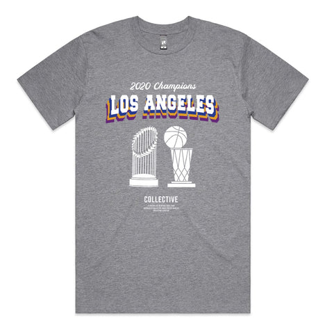 2 Titles Tee - Lakers x Dodgers 2020 Championship tee by Collective - Grey All Over