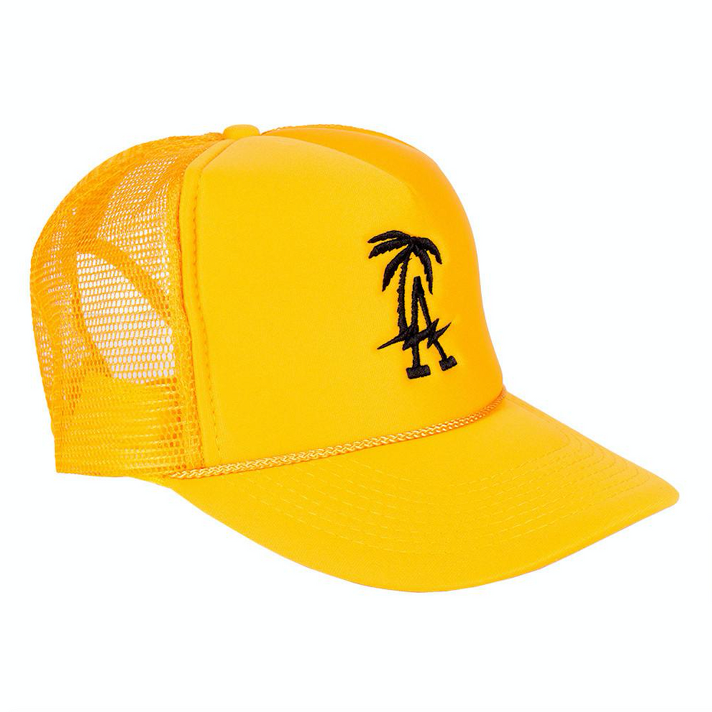Black and Yellow LA Trucker Hat