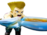 Chibi Guile in classic Sonic Boom pose, with energy blasts emerging.