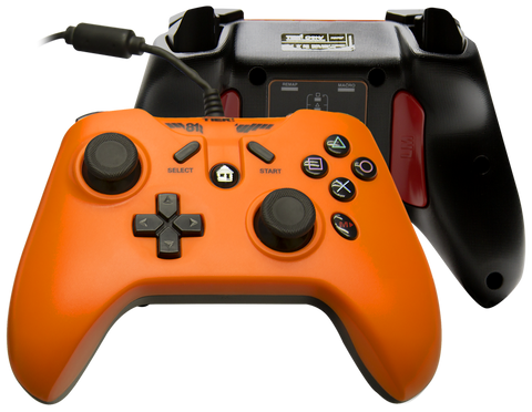 Tier 1 PS3 PC Android Controller - Hazard Orange Cord