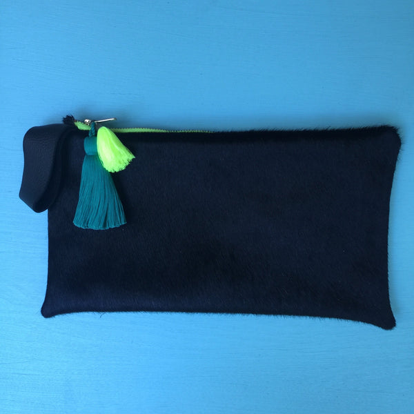 Hair-on black half clutch/florescent yellow zip