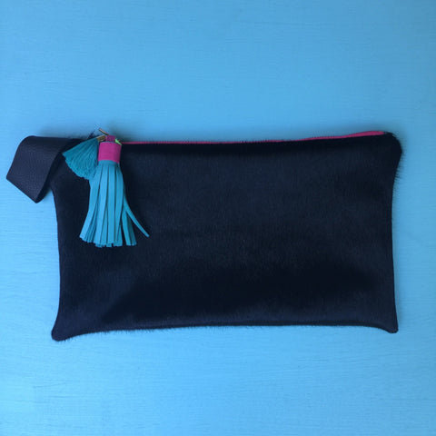 Hair-on black half clutch/florescent pink zip