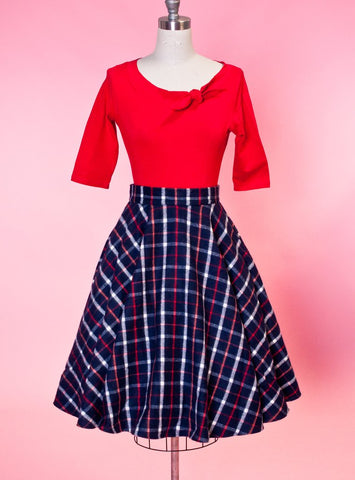 Haute Circle Skirt in Patriot Plaid | Heart of Haute