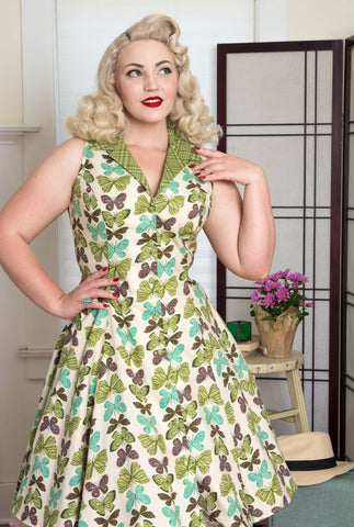 Betty Lou Dress in Vanilla Butterfly