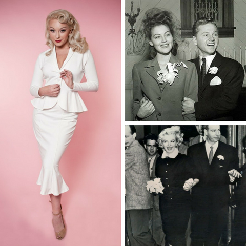 Vintage inspired wedding suit Ava Gardner and Marilyn Monroe