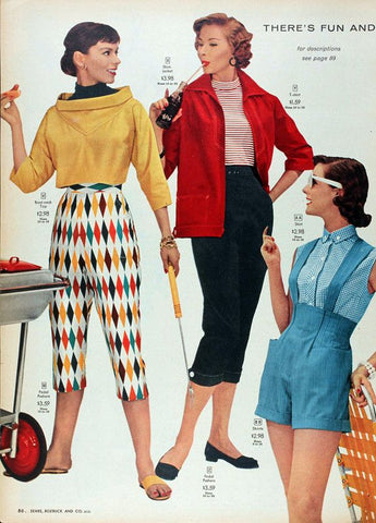 Harlequin print pants in 1950s sears catalog