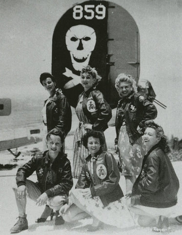 1940s USO girls wearing pinup bomber jackets