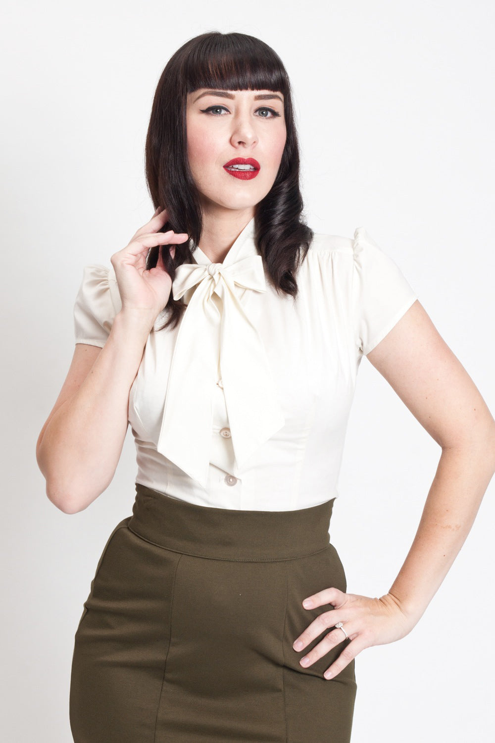 Vintage & Retro Shirts, Halter Tops, Blouses Estelle Blouse - Ivory  AT vintagedancer.com