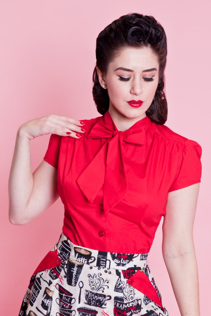 Estelle Blouse - Red - Heart of Haute