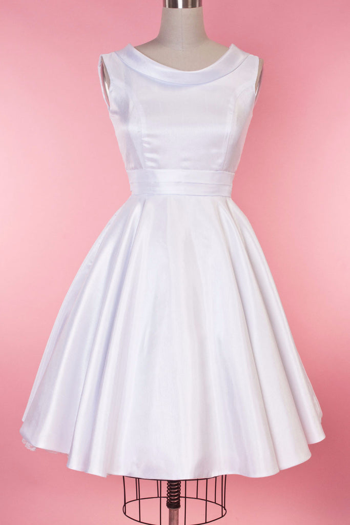 60s Wedding Dress | 1960s Style Wedding Dresses BP Suzette Dress - White Shantung  AT vintagedancer.com