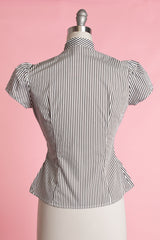 Estelle Blouse - Candy Stripe, Black - Heart of Haute