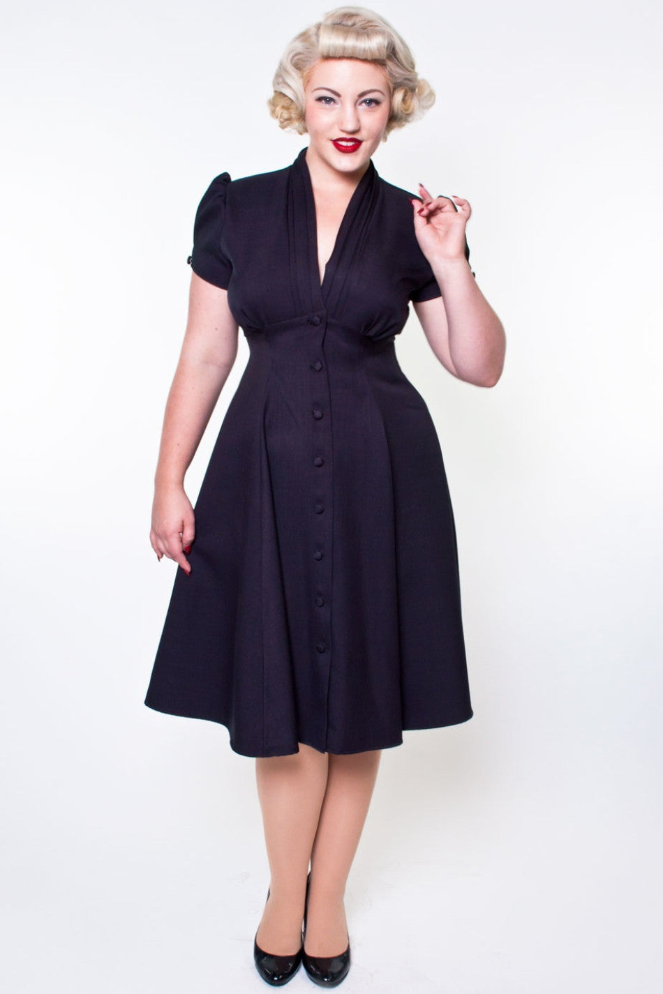 1940s Dresses | 40s Dress, Swing Dress Manhattan Dress - Black $120.00 AT vintagedancer.com