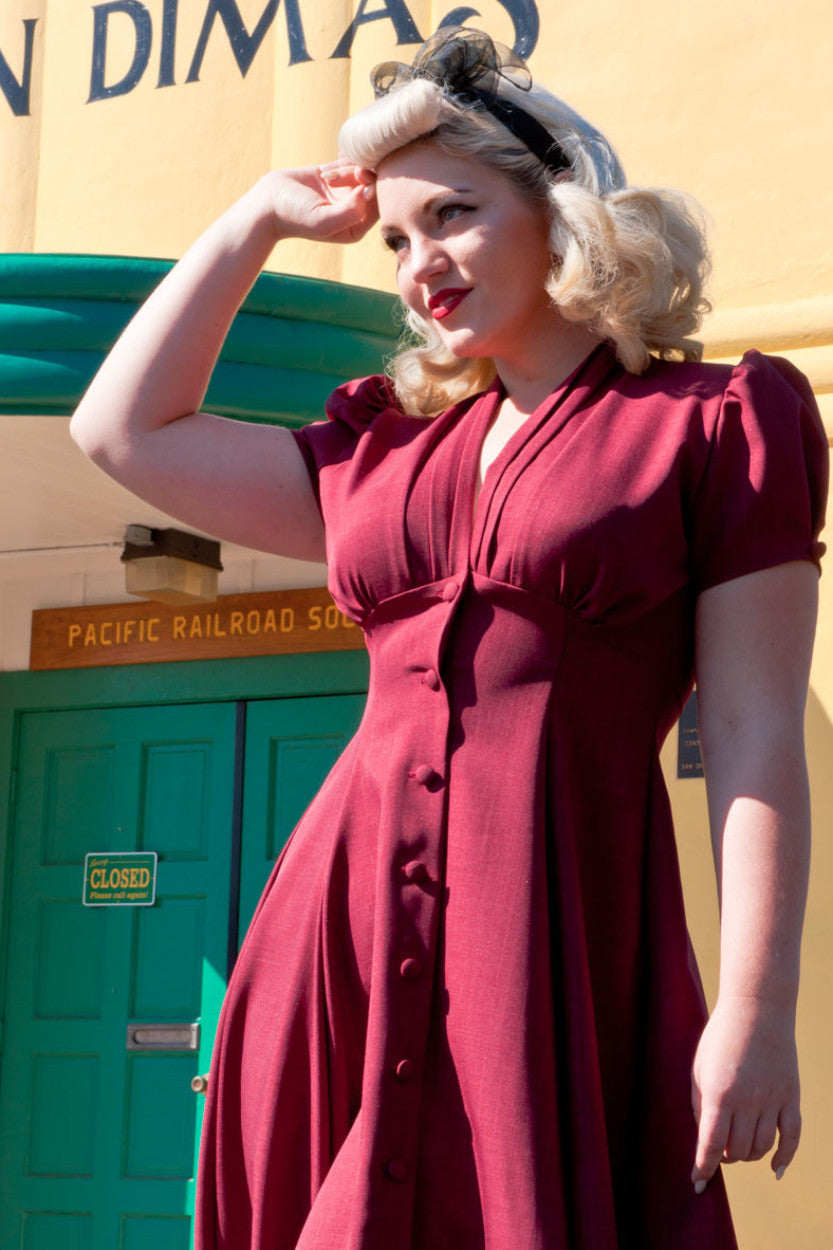 1940s Style Dresses | 40s Dress, Swing Dress Manhattan Dress - Burgundy  AT vintagedancer.com