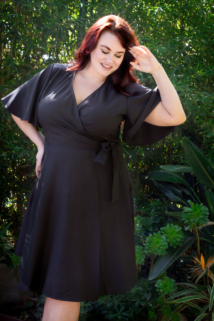 Rachel Wrap Dress - Black - Heart of Haute