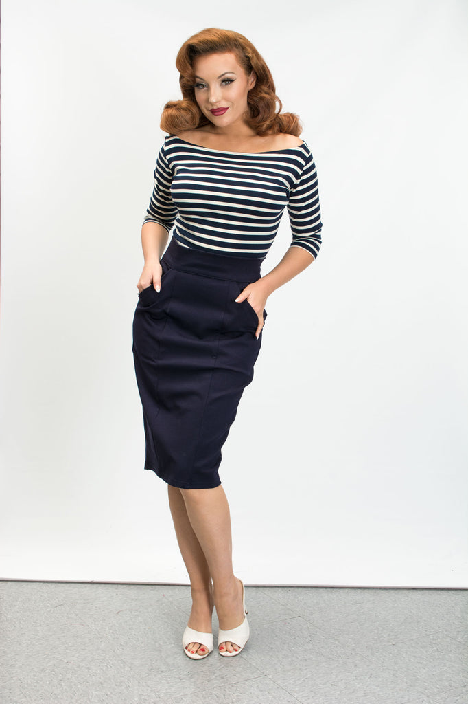 Princess Pencil Skirt - Navy - Heart of Haute