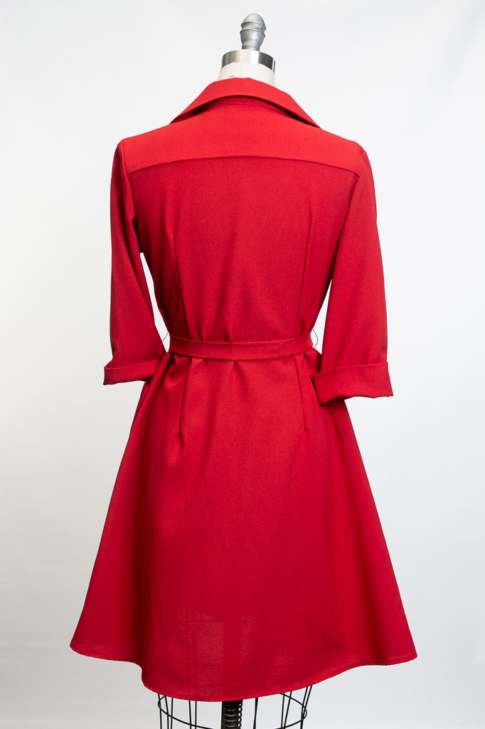 Shirt Dress - Red Melange