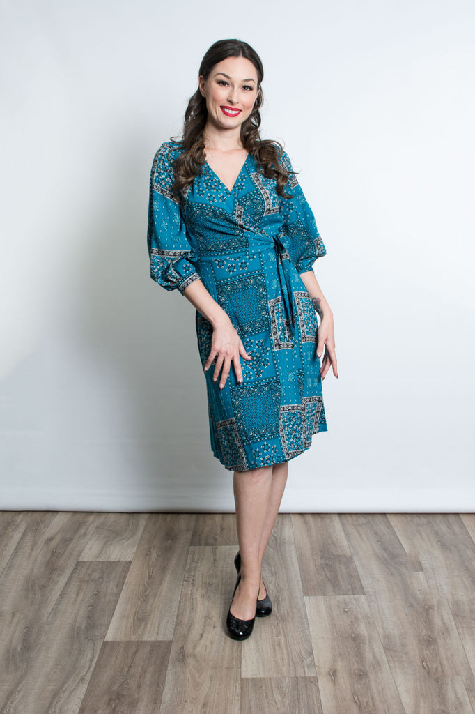 Rita Dress - Teal Bandana - Heart of Haute