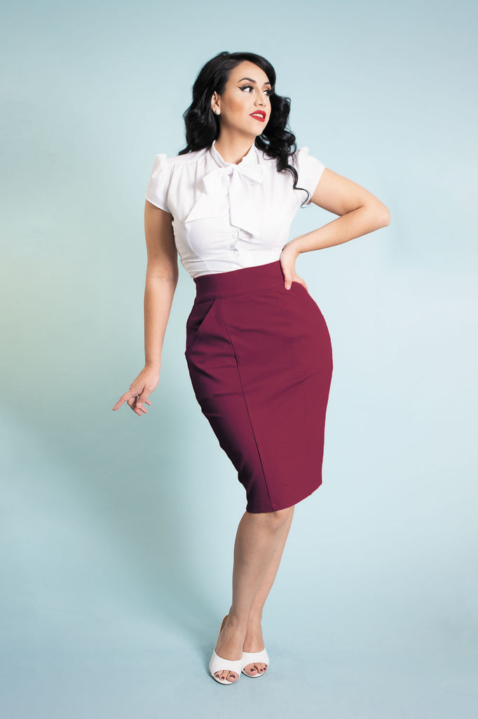 Princess Pencil Skirt - Burgundy - Heart of Haute