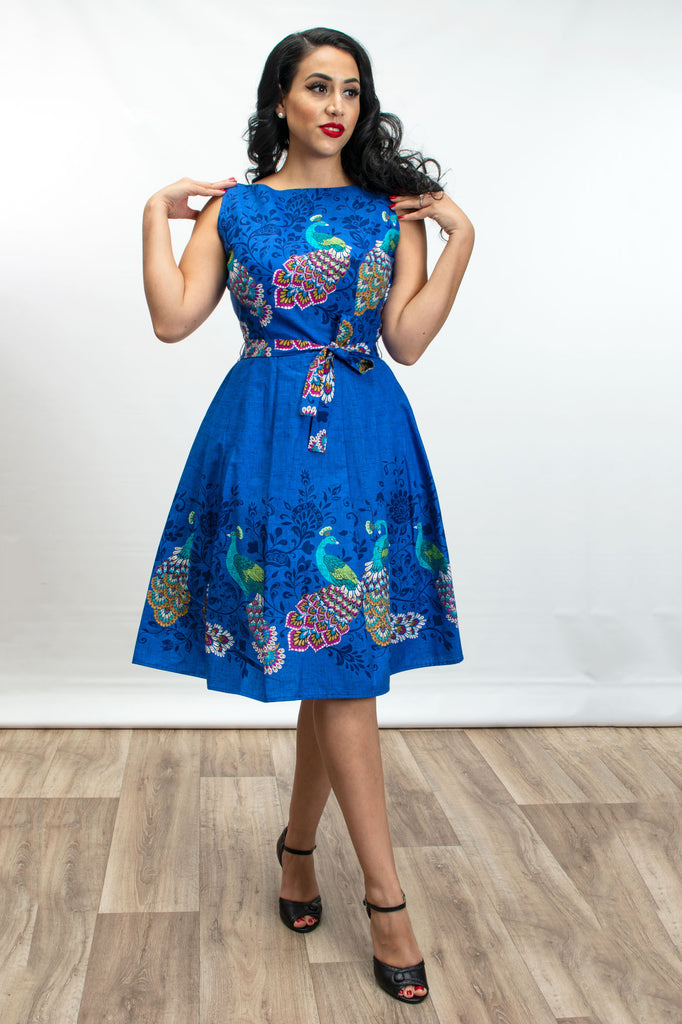 Monica Dress - Peacock Border Royal - Heart of Haute