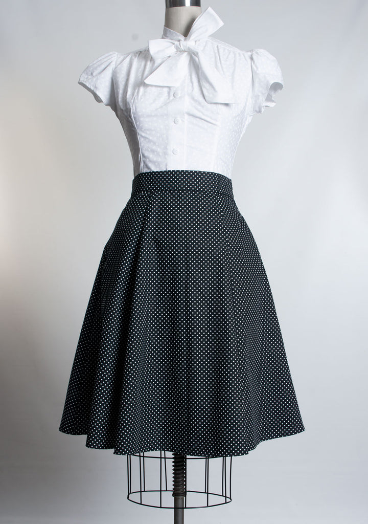 Twirl Skirt- Black Polka Dot