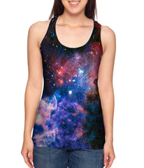 Womens Nebula Space Galaxy Racer Back