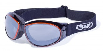 Riding Glasses - Eliminator CF AST Style Riding Glasses with Orange Cover Spray Over Black Frames > Part #GL-ELIM-CF-AST-ORANGE