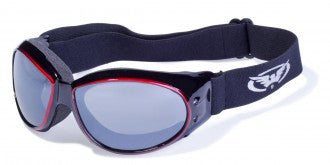 Riding Glasses - Eliminator CF AST Style Riding Glasses with Red Cover Spray Over Black Frames > Part #GL-ELIM-CF-AST-RED