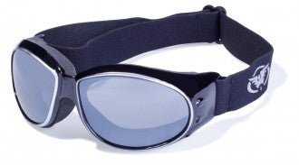 Riding Glasses - Eliminator CF AST Style Riding Glasses with Silver Cover Spray Over Black Frames > Part #GL-ELIM-CF-AST-SILV