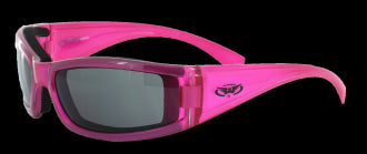 Riding Glasses - Fight Back 2 CF SM A/F Style Riding Glasses with Hot Pink Frame > Part #GL-FIGHT-2-HOT
