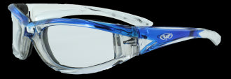 Riding Glasses - FlashPoint CF CL Style Riding Glasses with Blue Frames > Part #GL-FP-CF-CL-BLUE