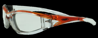Riding Glasses - FlashPoint CF CL Style Riding Glasses with Orange Frames > Part #GL-FP-CF-CL-ORANGE