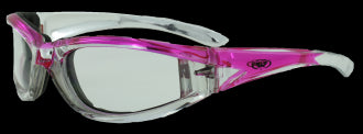 Riding Glasses - FlashPoint CF CL Style Riding Glasses with Pink Frames > Part #GL-FP-CF-CL-PINK