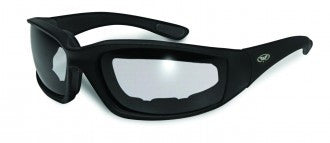 Riding Glasses - Kickback Style Riding Glasses with Clear Lenses and Black Frames > Part #GL-KICK-CLR