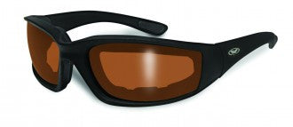 Riding Glasses - Kickback Style Riding Glasses with Driving Mirror Lenses and Black Frames > Part #GL-KICK-DRIVE