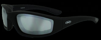 Riding Glasses - Kickback Style Riding Glasses with Mirror Lenses and Black Frames > Part #GL-KICK-MIRR