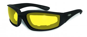 Riding Glasses - Kickback Style Riding Glasses with Yellow Tint Lenses and Black Frames > Part #GL-KICK-YELLOW