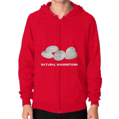 Natural Moonstone Portrait Zip Hoodie (on man) S / Red, Hoodie - PeakGems.com, PeakGems.com - 5
