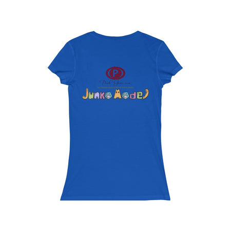Junko Model Back Side Logo Women's Jersey Short Sleeve V-Neck Tee