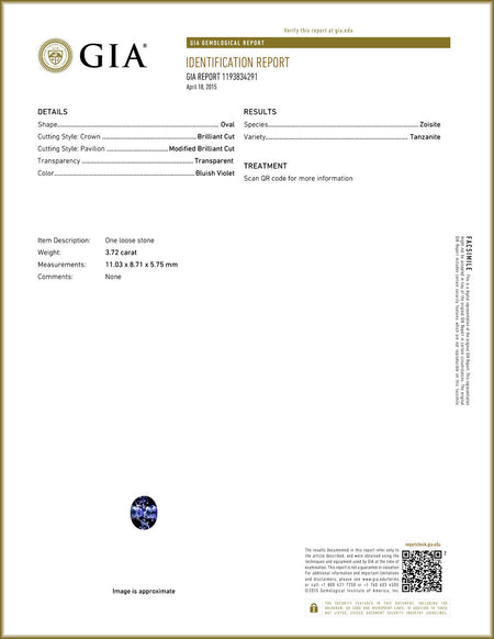 GIA Certified 3.72 ct Natural Tanzanite , Natural Gemstone - PeakGems.com, PeakGems.com - 2