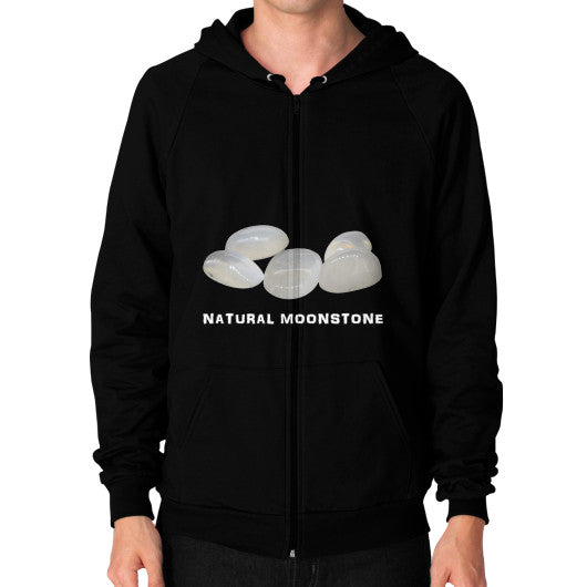 Natural Moonstone Portrait Zip Hoodie (on man) S / Black, Hoodie - PeakGems.com, PeakGems.com - 2