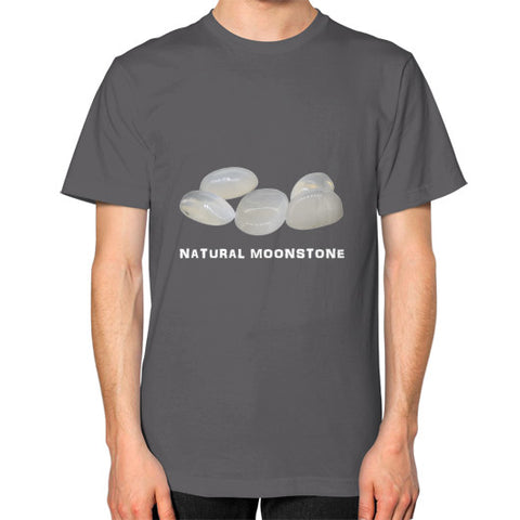 Natural Moonstone Portrait Unisex T-Shirt S / Asphalt, T-Shirt - PeakGems.com, PeakGems.com - 2