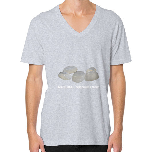 Natural Moonstone Portrait V-Neck (on man) XS / Heather grey, T-Shirt - PeakGems.com, PeakGems.com - 4